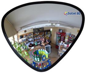 Сферическое зеркало безопасности, антикражное для помещений, треугольное размер 330х330х360 мм